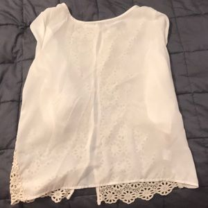 Tops - Cream and crocheted blouse